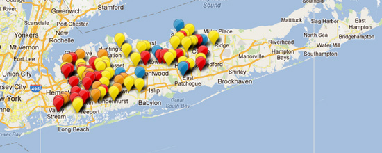 A Map Showing Red Light Camera Monitored Intersections On Long Island.  Click Through For Details.
