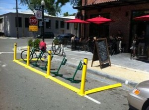 Source: Sacramento Press.  New Haven advocates are trying to 'crowd-fund' a bike corral like this one.