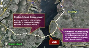 A new reversible lane across the Verrazano-Narrows Bridge will connect existing HOV lanes along I-278 in Staten Island and Brooklyn. | Image: MTA.info