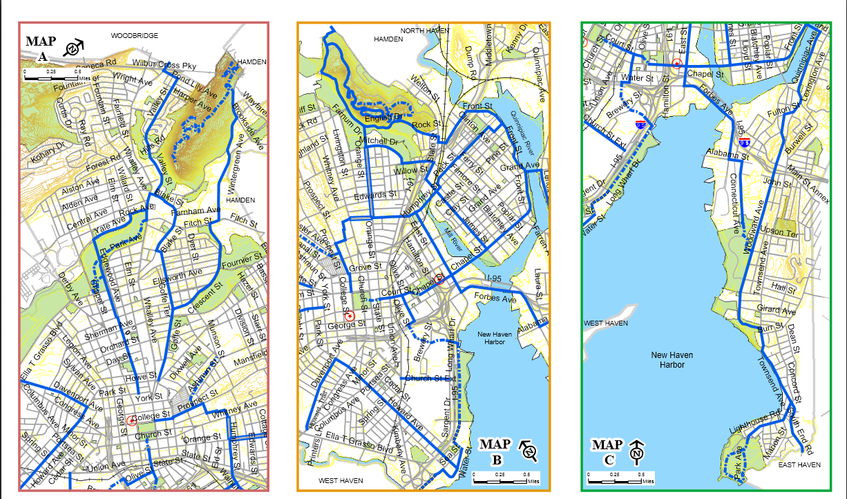 New Haven's 2004 bike map.