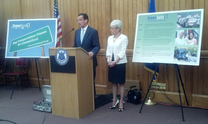 Governor Malloy and Lt. Governor Nancy Wyman discuss the Transform CT plan at the State Capitol.