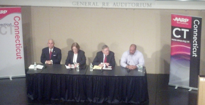 Stamford mayoral candidates at last week's debate. (From left: Fedele, Murphy, Martin, Zito.) | Photo: Tri-State Transportation Campaign.