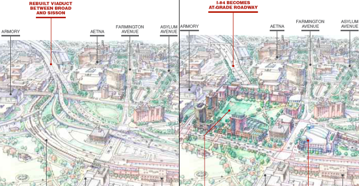 The 2010 Hub of Hartford study looked at dramatic alternatives for the segment of I-84 that cuts off downtown Hartford from other parts of the city. Rather than simply rebuilding the highway viaducts as-is (depicted at left), planners say that bringing