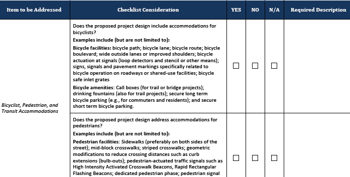NJDOT's project checklist.