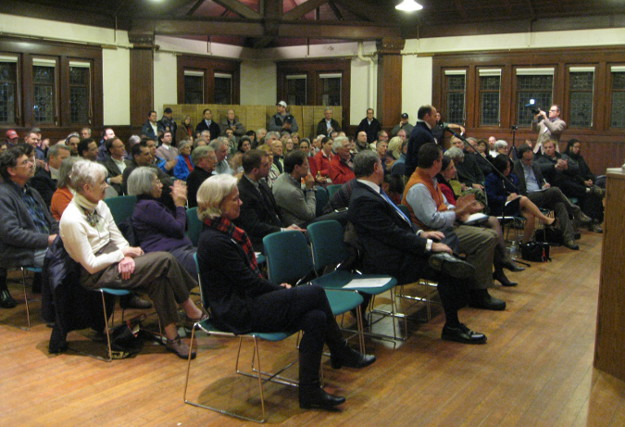 "Commuters filled a ""Speakout"" at the Pequot Library in Southport, hosted by the Connecticut Citizens Transportation Lobby on February 18. 