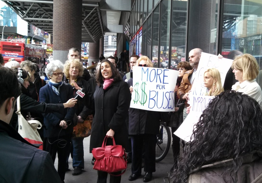 TSTC Executive Director Veronica Vanterpool addressed the media today in front of the Port Authority Bus Terminal at a rally for increased funding for bus infrastructure in the PANYNJ capital plan. | Photo: Madeline Marvar