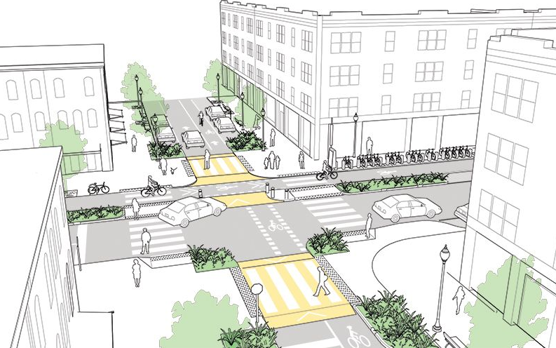 "The NACTO ""Urban Street Design Guide"" provides detailed guidance on how to create vibrant streets that accommodate all road users as safely as possible. Image Source: NACTO"
