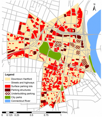 "Hartford parking circa 2000. Source: ""Losing Hartford, Transportation policy and the decline of an American city"""