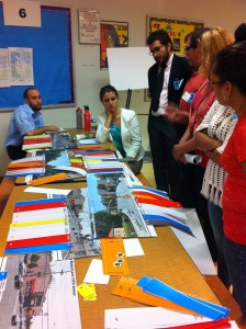 Community members envision a transformed Woodhaven Boulevard during a design charrette hosted by NYC DOT and MTA Bus. Photo: Kathi Ko