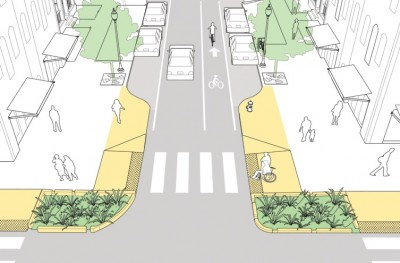 Bridgeport will make infrastructure changes, including curb extensions. | Image: NACTO