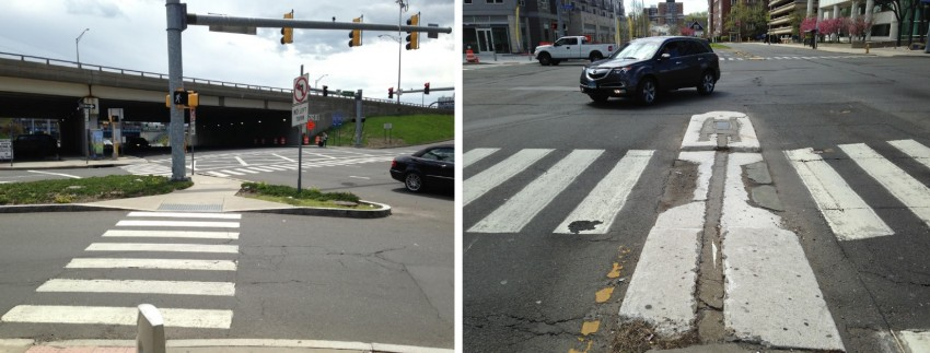 Stamford's new Complete Streets ordinance should guide the City toward building more crossing islands like the one on the left, and fewer like the one on the right. | Photos: Joseph Cutrufo/TSTC