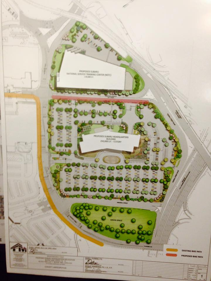 Photo of current site plans with 1,031 new parking spaces and few pedestrian and bicyclist-focused facilities.