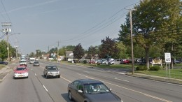 Central Avenue in Colonie, NY at the location where a pedestrian was struck by two drivers and killed on Tuesday. | Image: Google Streetview