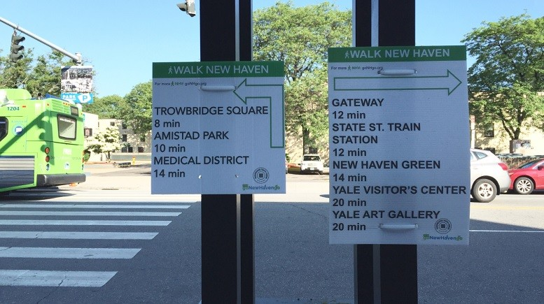 Wayfinding signage posted outside New Haven's Union Station shows that there isn't much within a 10-minute walk. | Image: Joseph Cutrufo/TSTC