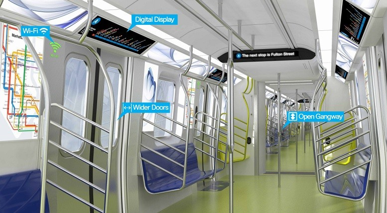 New subway cars will feature wider doors and open gangways. And Vignelli maps too? | Image: Governor Andrew M. Cuomo