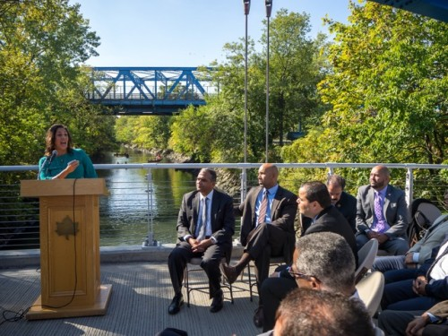 The Bronx River Alliance groundbreaking ceremony. | Photo: Ethan Strell